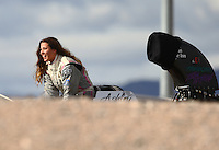 Nov 2, 2014; Las Vegas, NV, USA; NHRA top alcohol dragster driver Ashley Sanford during the Toyota Nationals at The Strip at Las Vegas Motor Speedway. Mandatory Credit: Mark J. Rebilas-USA TODAY Sports