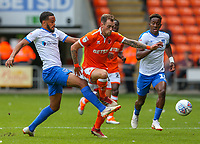 Blackpool's Harry Pritchard takes on Portsmouth's Anton Walkes<br /> <br /> Photographer Alex Dodd/CameraSport<br /> <br /> The EFL Sky Bet League One - Blackpool v Portsmouth - Saturday August 11th 2018 - Bloomfield Road - Blackpool<br /> <br /> World Copyright &copy; 2018 CameraSport. All rights reserved. 43 Linden Ave. Countesthorpe. Leicester. England. LE8 5PG - Tel: +44 (0) 116 277 4147 - admin@camerasport.com - www.camerasport.com