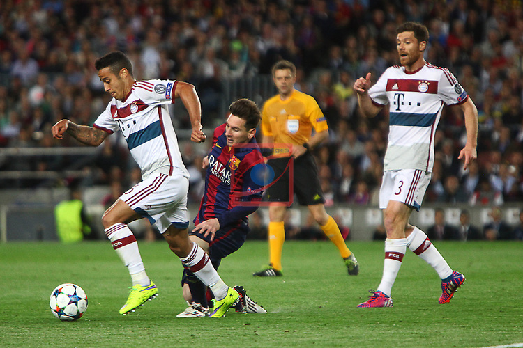 UEFA Champions League 2014/2015. <br /> Semi-finals 1st leg.<br /> FC Barcelona vs FC Bayern Munchen: 3-0.<br /> Thiago, Lionel Messi &amp; Xabi Alonso.