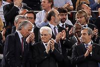 Calcio, finale Tim Cup: Juventus vs Lazio. Roma, stadio Olimpico, 20 maggio 2015.<br /> From left, Italian Olympic Committee (CONI) president Giovanni Malago, Italian President Sergio Mattarella and Senate's Deputy president Maurizio Gasparri wait for the start of the Italian Cup final football match between Juventus and Lazio at Rome's Olympic stadium, 20 May 2015.<br /> UPDATE IMAGES PRESS/Isabella Bonotto