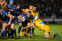 8th November 2019; AJ Bell Stadium, Salford, Lancashire, England; English Premiership Rugby, Sale Sharks versus Coventry Wasps; Akker van der Merwe of Sale Sharks is tackled by Nizaam Carr of Wasps - Editorial Use