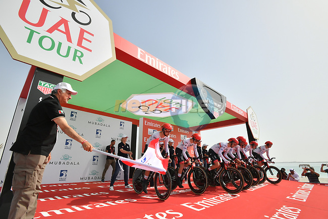UAE Team Emirates power off the start ramp of Stage 1 of the 2019 UAE Tour, a team time trial running 16km around Al Hudayriat Island, Abu Dhabi, United Arab Emirates. 24th February 2019.<br /> Picture: LaPresse/Massimo Paolone | Cyclefile<br /> <br /> <br /> All photos usage must carry mandatory copyright credit (© Cyclefile | LaPresse/Massimo Paolone)