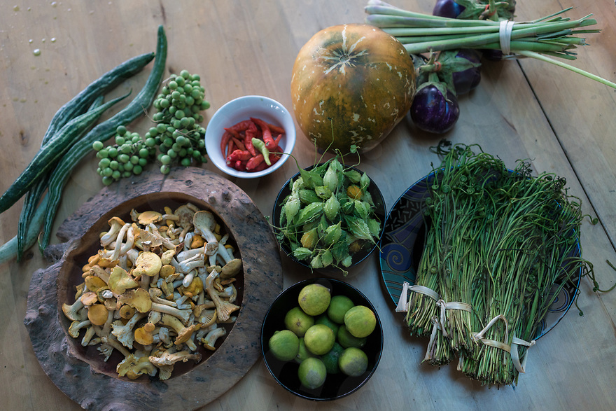 May 12, 2017 - Luang Prabang (Laos). Fresh ingredients are ready to be cooked by Chef Somsack. © Thomas Cristofoletti / Ruom