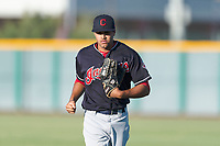AZL Indians 1 right fielder Johnathan Rodriguez (30) jogs off the field between innings of an Arizona League game against the AZL Cubs 1 at Sloan Park on August 27, 2018 in Mesa, Arizona. The AZL Cubs 1 defeated the AZL Indians 1 by a score of 3-2. (Zachary Lucy/Four Seam Images)