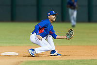 AZL Cubs 2 shortstop Miguel Pabon (13) covers second base on a steal attempt during an Arizona League game against the AZL Indians 2 at Sloan Park on August 2, 2018 in Mesa, Arizona. The AZL Indians 2 defeated the AZL Cubs 2 by a score of 9-8. (Zachary Lucy/Four Seam Images)