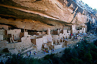 A view of Spruce Tree House - an Anasazi Indian cliff dwelling. Mesa Verde National Park, Colorado.