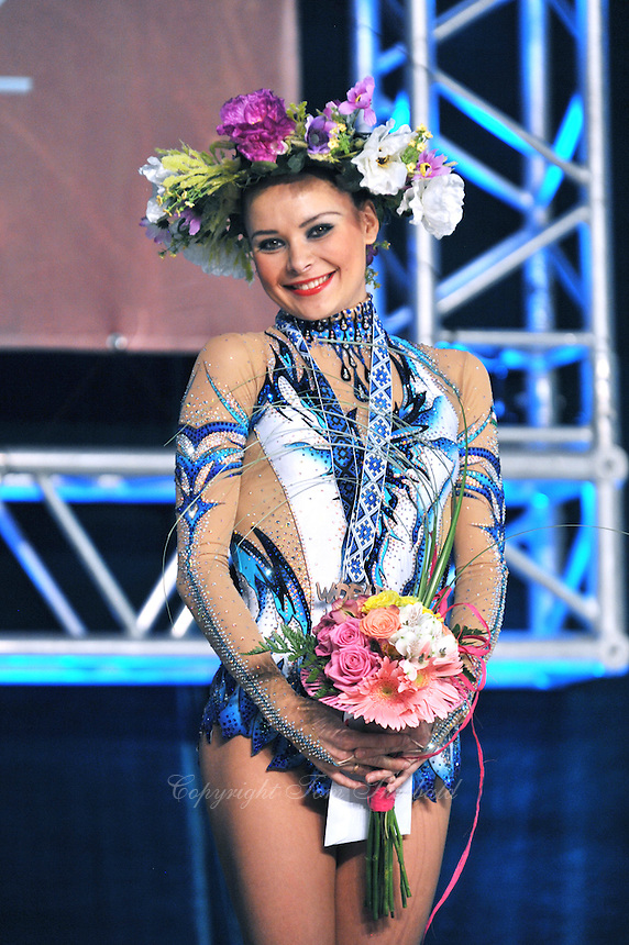 "ULYANA TROFIMOVA of Uzbekistan celebrates winning bronze in ball Event Final at 2011 World Cup Kiev, ""Deriugina Cup"" in Kiev, Ukraine on May 8, 2011."