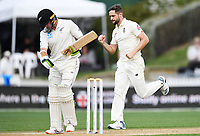 2nd December, Hamilton, New Zealand; England's Chris Woakes celebrates the wicket of Latham on day 4 of the 2nd test cricket match between New Zealand and England  at Seddon Park, Hamilton, New Zealand.
