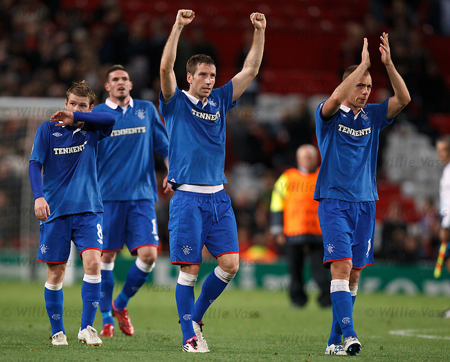 Kirk Broadfoot and Steven Whittaker applaud the Rangers fans