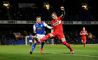 Ipswich Town's Freddie Sears is tackled by Middlesbrough's Aden Flint<br /> <br /> Photographer Hannah Fountain/CameraSport<br /> <br /> The EFL Sky Bet Championship - Ipswich Town v Middlesbrough - Tuesday 2nd October 2018 - Portman Road - Ipswich<br /> <br /> World Copyright &copy; 2018 CameraSport. All rights reserved. 43 Linden Ave. Countesthorpe. Leicester. England. LE8 5PG - Tel: +44 (0) 116 277 4147 - admin@camerasport.com - www.camerasport.com