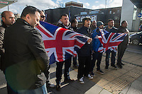"EDL protest and counter demonstration Slough, England 1-2-14 The far right English Defence League holds a national protest in Slough. Between 150-200 EDL supporters marched under heavy Police protection. A much larger counter demostration called by Unite Against Fascism, Slough Trades Council and ANTIFA  was attended by a large contingent of local youth and blocked the route of the EDL march and scuffled with Police. Some local Pakistani men get close to the EDL protest and and chant ""St George was an Arab"" at the EDL supporters."