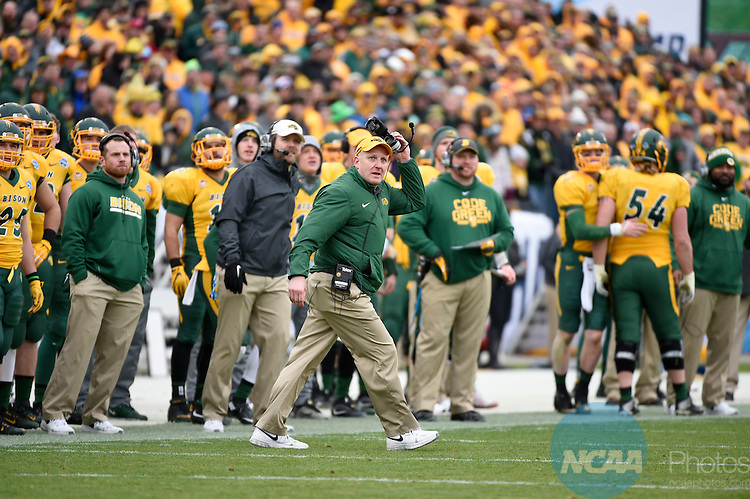 09 JAN 2016:  Head coach Chris Klieman of North Dakota State University reacts to a made field goal against Jacksonville State University during the Division I FCS Football Championship held at Toyota Stadium in Frisco, TX. NDSU defeated JSU 37-10 to win the national championship. Jamie Schwaberow/NCAA Photos
