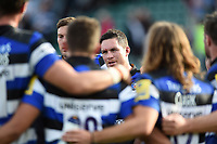 Francois Louw of Bath Rugby speaks to his team-mates in a post-match huddle. Aviva Premiership match, between Bath Rugby and Newcastle Falcons on September 23, 2017 at the Recreation Ground in Bath, England. Photo by: Patrick Khachfe / Onside Images