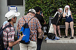 Photographers line up to take pictures of cosplayers during the ''Comic Market 88 Summer 2015'' exhibition at Tokyo Big Sight on August 14, 2015, Tokyo, Japan. Thousands of manga and anime fans attended the first day of the Comic Market 88 (Comiket) at Tokyo Big Sight. The Comic Market was established in 1975 to allow fans and artists to interact and focuses on manga, anime, gaming and cosplay. The exhibition is held from August 14th to 16th and Comiket organisers expect more than 500,000 visitors to attend. (Photo by Rodrigo Reyes Marin/AFLO)