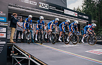 Team Quickstep Floors off the start ramp<br /> <br /> UCI MEN&lsquo;S TEAM TIME TRIAL<br /> Ötztal to Innsbruck: 62.8 km<br /> <br /> UCI 2018 Road World Championships<br /> Innsbruck - Tirol / Austria