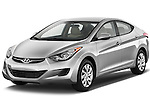 Front three quarter view of a 2013 Hyundai Elantra GLS.