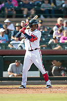 Peoria Javelinas center fielder Cristian Pache (27), of the Atlanta Braves organization, at bat during the Arizona Fall League Championship Game against the Salt River Rafters at Scottsdale Stadium on November 17, 2018 in Scottsdale, Arizona. Peoria defeated Salt River 3-2 in 10 innings. (Zachary Lucy/Four Seam Images)