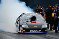 Sept. 16, 2011; Concord, NC, USA: NHRA pro stock driver Erica Enders during qualifying for the O'Reilly Auto Parts Nationals at zMax Dragway. Mandatory Credit: Mark J. Rebilas-