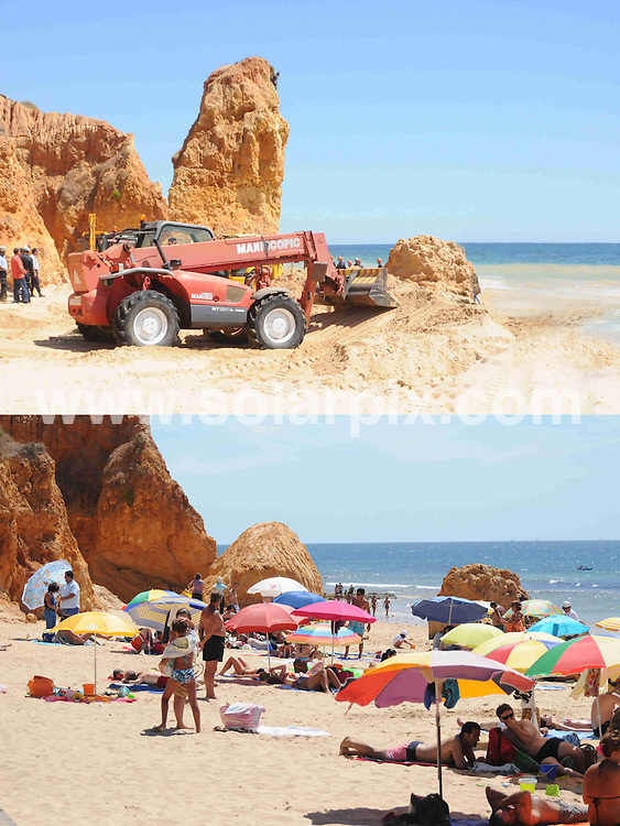 **ALL ROUND EXCLUSIVE PICTURES FROM SOLARPIX.COM**.**WORLDWIDE SYNDICATION RIGHTS**.Despite the death of five people in the rock slide on Maria Luisa beach in Albufeira, on the Algarve, Portrugal, on Friday 21st August, sunbathers return to the location to sunbathe beneath the remaining cliffs. The local town hall have substantially reduced the hight of the rock outcrop that was partially responsible for the collapse, and now removed the danger signs. The cliffs that surround the beach are still considered to be dangerous and susceptible to further rock falls..This pic: Top picture shows dangerous rock and bottom pic shows how it now looks..JOB REF:     9810   PPL        DATE:  26.08.09.**MUST CREDIT SOLARPIX.COM OR DOUBLE FEE WILL BE CHARGED**.**MUST AGREE FEE BEFORE ONLINE USAGE**.**CALL US ON: +34 952 811 768 or LOW RATE FROM UK 0844 617 7637**