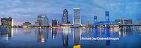 63412-01004 Jacksonville skyline at dusk, Jacksonville, FL