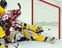 Junior Sean Dolan scores the Badger's 4th goal, as Wisconsin takes on Merrimack in the Badger Hockey Showdown on Saturday, 1/2/10, at the Kohl Center in Madison, Wisconsin