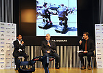 """September 29, 2017, Tokyo, Japan - Former Formula 1 driver Ukyo Katayama (L), Australian journalist Peter Lyon (R) and American journalist Morley Robertson (C) hold a talk session after they drove eleectric personal mobility """"Landboard"""" developed by Japanese automobile venture Exmachina at a press preview in Tokyo on Friday, September 29, 2017. Exmachina also displayed two-seater electric vehicle Earth-1 which enables to transform its body like a robot.   (Photo by Yoshio Tsunoda/AFLO) LWX -ytd-"""