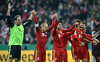 FUSSBALL  DFB POKAL       SAISON 2012/2013 FC Bayern Muenchen - 1 FC Kaiserslautern  31.10.2012 JUBEL nach dem Sieg, Torwart Tom Starke, Arjen Robben, Emre Can, Javi , Javier Martinez (v. li., FC Bayern Muenchen)