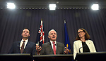 Steven Ciobo, Australian Minister of Trade (L), Malcolm Turnbull, Australian Prime Minister (C) and Cecilia Malmstrom, Trade Commissioner of the European Union (R), speak during a press conference at Parliament House, Canberra, Monday, June 18, 2018.