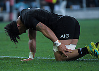 Ardie Savea goes down injured during the Steinlager Series international rugby match between the New Zealand All Blacks and France at Forsyth Barr Stadium in Wellington, New Zealand on Saturday, 23 June 2018. Photo: Dave Lintott / lintottphoto.co.nz