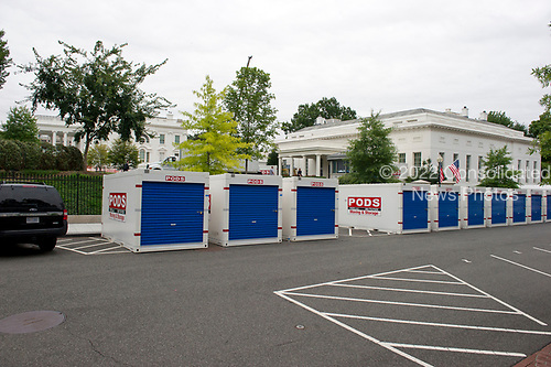 Storage pods on West Executive Avenue outside the White House West Wing in Washington, DC as it is undergoing renovations while United States President Donald J. Trump is vacationing in Bedminster, New Jersey on Friday, August 11, 2017.<br /> Credit: Ron Sachs / CNP