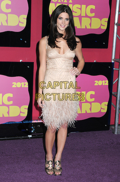 Ashley Greene.2012 CMT Music Awards held at Bridgestone Arena, Nashville, Tennessee, USA..June 6th, 2012.full length dress hand on hip beige cream feathers .CAP/ADM/LF.©Laura Farr/AdMedia/Capital Pictures.