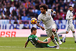 Marcelo Vieira Da Silva of Real Madrid fights for the ball with Unai Bustinza of Deportivo Leganes during their La Liga match between Real Madrid and Deportivo Leganes at the Estadio Santiago Bernabéu on 06 November 2016 in Madrid, Spain. Photo by Diego Gonzalez Souto / Power Sport Images