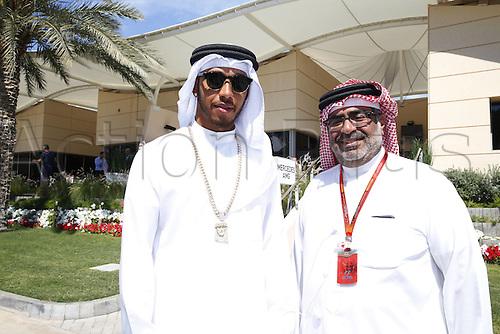 03.04.2016. Sakhir, Bahrain. F1  Grand Prix of Bahrain, 44 Lewis Hamilton (GBR, Mercedes AMG Petronas Formula One Team) in Bahrain traditional dress with Crown Prince of Bahrain Prince Salman bin Hamad bin Isa Al Khalifa