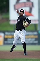 Kannapolis Intimidators starting pitcher Blake Hickman (33) in action against the Hagerstown Suns at Kannapolis Intimidators Stadium on July 10, 2017 in Kannapolis, North Carolina.  The Suns defeated the Intimidators 8-5.  (Brian Westerholt/Four Seam Images)