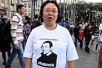 S&Atilde;O PAULO-SP -30,07,2014- ATO NACIONAL - PROTESTAR N&Atilde;O &Eacute; CRIME -Foto: Helena Harano (m&atilde;e de Fabio Hideki)<br /> Manifestantes ocupam a Pra&ccedil;a da S&eacute; em protesto pelas pris&otilde;es de manifetantes no Rio de Janeiro e S&atilde;o paulo, na Pra&ccedil;a da S&eacute;, regi&atilde;o central da cidade S&atilde;o Paulo,nessa quarta-feira,30