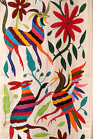 Traditional embroidery from Otomi village of San Pablito, Puebla, Mexico. For sale in San Miguel de Allende, Mexico....