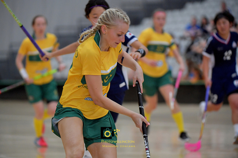 Australia's Blaise Hodges in action during the World Floorball Championships 2017 Qualification for Asia Oceania Region Final - Australia v Japan at ASB Sports Centre , Wellington, New Zealand on Sunday 5 February 2017.<br /> Photo by Masanori Udagawa<br /> www.photowellington.photoshelter.com.
