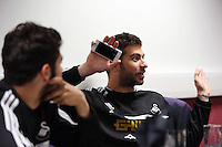 Wednesday, 23 April 2014<br /> Pictured: Jordi Amat (R) in the breakfast room.<br /> Re: Swansea City FC are holding an open training session for their supporters at the Liberty Stadium, south Wales,