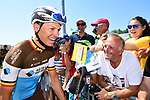 Oliver Naesen (BEL) AG2R La Mondiale with fans at sign on before the start of Stage 4 of the 2018 Tour de France running 195km from La Baule to Sarzeau, France. 10th July 2018. <br /> Picture: ASO/Alex Broadway | Cyclefile<br /> All photos usage must carry mandatory copyright credit (&copy; Cyclefile | ASO/Alex Broadway)