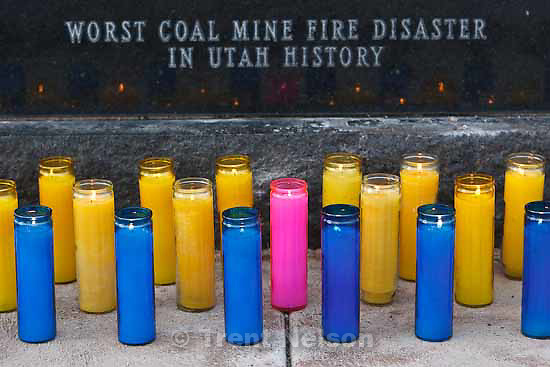 Candles for each of the fallen are lit at a memorial for the 27 people who died in the Wilberg Mine disaster 25 years ago today, Saturday, December 19, 2009.