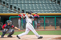 Roger Kieschnick (33) of the Salt Lake Bees at bat against the Tacoma Rainiers in Pacific Coast League action at Smith's Ballpark on May 7, 2015 in Salt Lake City, Utah. The Bees defeated the Rainiers 11-4 in the completion of the game that was suspended due to weather on May 6, 2015.(Stephen Smith/Four Seam Images)