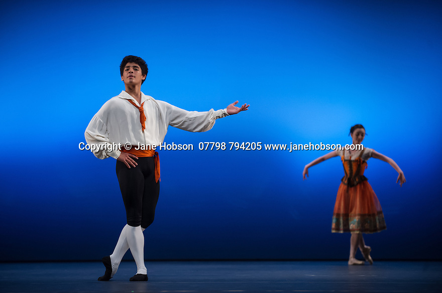 """London, UK. 19.05.2014. English National Ballet presents the final of EMERGING DANCER 2014, at the Lyceum Theatre in London's West End. Picture shows: Madison Keesler and Joan Sebastian Zamora in """"Flower Festival"""". Photograph © Jane Hobson."""