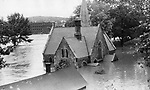 Riverside Cemetery  chapel was a lonely outpost along the Waterbury section of North Riverside Street, where the flood took its greatest toll in private-home damage, with 17 residences ripped away.