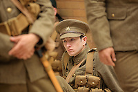 Men in World War I gear in the Quardrant shopping centre, Swansea, south Wales UK. Friday 01 July 2016