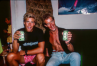 Jamie Brisick (USA) with a St Leu local know as 'Surfer Joe' on French island of Reunion in the Indian Ocean. Brisick was there for a Quiksilver surf trip. Circa 1989 Photo: joliphotos.com