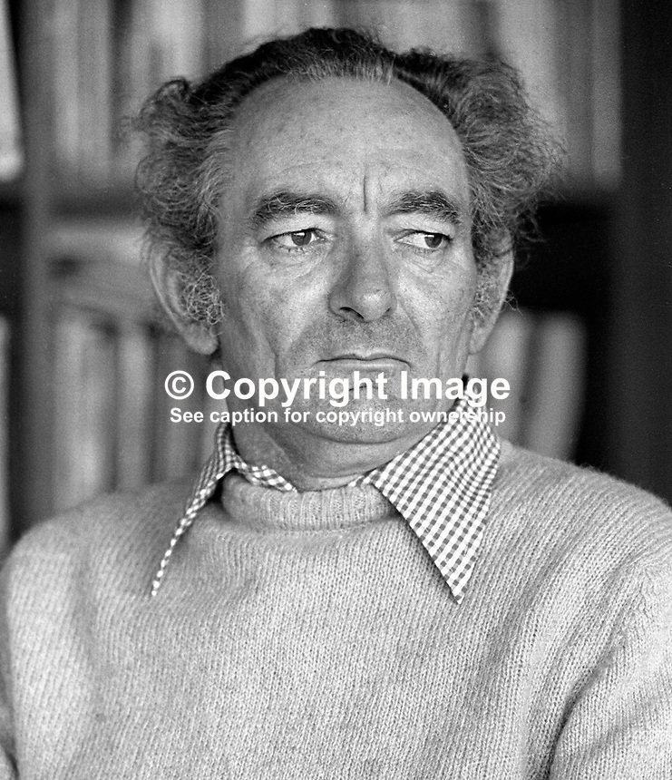 Brian Friel, born 9th January 1929, Omagh, Co Tyrone, N Ireland,  dramatist, playwright, author, director, Field Day Theatre Company. Lives in Co Donegal, Rep of Ireland. 197803000095a.<br />