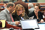 Nevada Assembly Majority Leader Paul Anderson, Minority Leader Marilyn Kirkpatrick and Chief Clerk Susan Furlong work on the Assembly floor at the Legislative Building in Carson City, Nev., on Thursday, May 21, 2015. <br /> Photo by Cathleen Allison