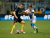 Marccelo Brozovic  and Elseid Hysaj  during the  italian serie a soccer match,between Inter FC  and SSC Napoli      at  the San Siro   stadium in Milan  Italy , April  30, 2017