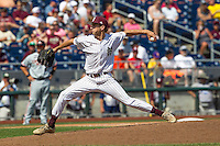Mississippi State pitcher Ross Mitchell (48) delivers a pitch to the plate during Game 11 of the 2013 Men's College World Series against the Oregon State Beavers on June 21, 2013 at TD Ameritrade Park in Omaha, Nebraska. The Bulldogs defeated the Beavers 4-1, to reach the CWS Final and eliminating Oregon State from the tournament. (Andrew Woolley/Four Seam Images)