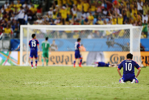 Shinji Kagawa (JPN), JUNE 24, 2014 - Football / Shinji Kagawa of Japan looks dejected after loss goal on Soccer : FIFA World Cup Brazil 2014 Group C match between Japan 1-4 Colombia at the Arena Pantanal in Cuiaba, Brazil. (Photo by AFLO)